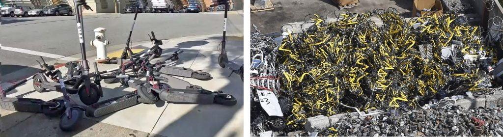 paylaşımlı bisiklet ve scooter çöplüğü